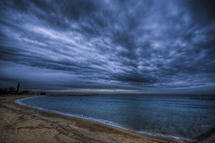 (futhark) Tags: barcelona blue sea sky white seascape black beach water clouds canon landscape mar high sand agua meer waves dynamic angle bcn wide dramatic playa paisaje shore cielo nubes saturation drama range hdr highdynamicrange 40d