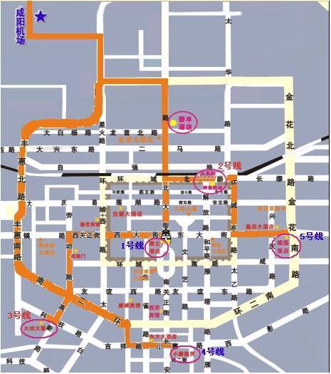 西安咸阳机场大巴路线图