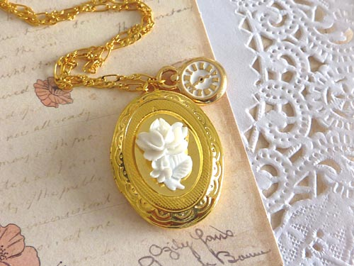 Necklace. Gold Oval Victorian Locket with White Rose. Clock Charm.