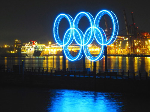 Olympic Rings at Night at Vancouver's Coal Harbor