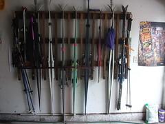 improvised ski rack