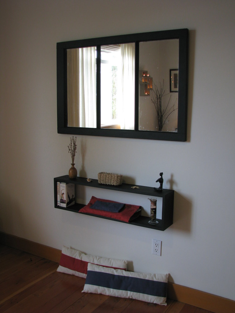 re-purposed mirror and hand-made shelf