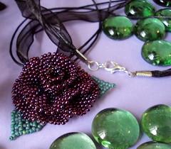 Burgundy Beaded Rose Necklace (fivefootfury) Tags: flower floral rose necklace burgundy jewelry beaded beadwork beadweaving beadedflower rosenecklace fivefootfury