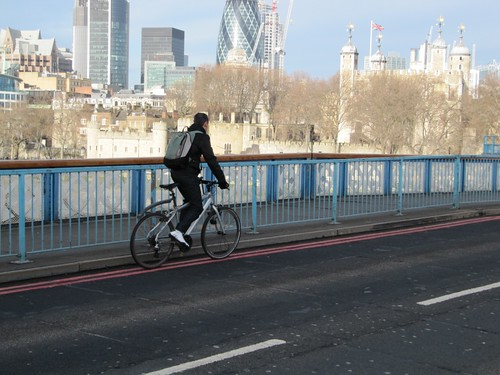 Cycling over Tower Bridge