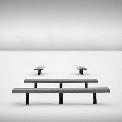 Zen Benches (Jeff Gaydash) Tags: blackandwhite snow bench square landscape symmetry zen minimalism benches theoriginalgoldseal