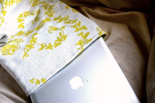 vintage towel laptop sleeve