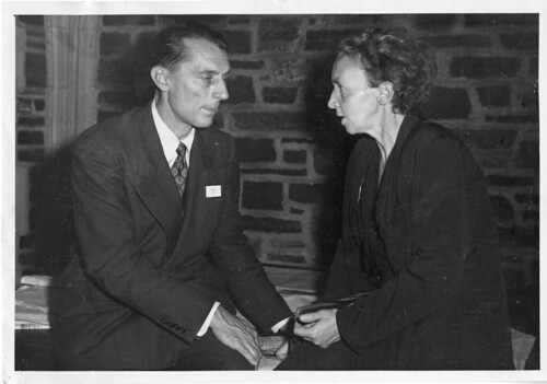 Frédéric Joliot (1900-1958) and Irène Joliot-Curie (1897-1956), 1940s, by James Lebenthal, Black-and-white photograph, Smithsonian Institution Archives, Acc. 90-105 - Science Service, Records, 1920s-1970s, SIA Acc. 90-105 (SIA2008-4490).