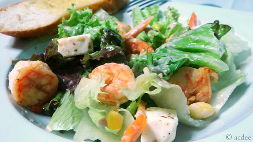 Seared Garlic Shrimp and Feta Cheese Salad with Sourcream and Balsamic Vinegar Dressing