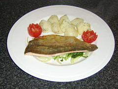 Pan Fried Fillet of Scottish Trout with Salad and Dill Potatoes