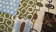 close up of line quilting on smaller quilt