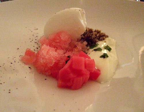 rhubarb and skyr dessert at Texture