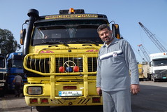 TRUCKING IN LEBANON (Claude  BARUTEL) Tags: road portrait lebanon truck mercedes transport eat middle beirut trucking drivers syrians