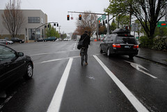 New bike lane on NE 12th at Sandy-3