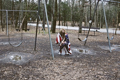rescueblues (yyellowbird) Tags: selfportrait girl playground tennessee flag american swingset cari
