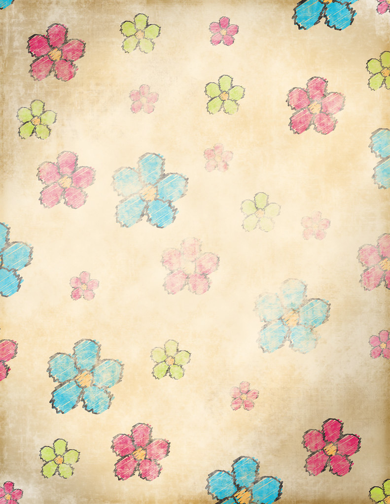 Grunge Flowers - Free Scrapbook paper to Print