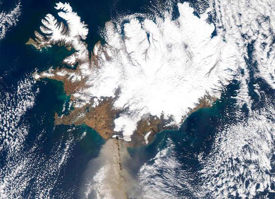 El volcán desde el espacio
