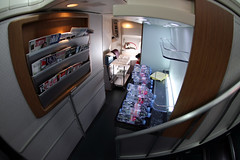 Cathay Pacific (Ch.H) Tags: new fish eye water stairs cabin view pacific flight hong kong karl boeing attendant cathay 747 hab 467
