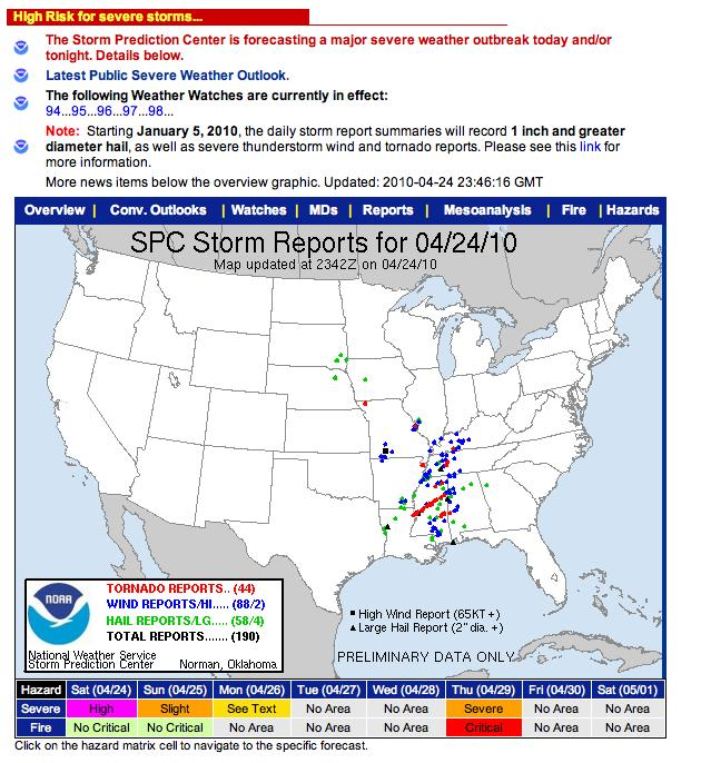 SPC storm reports 4-24-10
