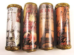 Vintage Ephemera Eiffel Tower Cylinder Focal Beads