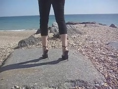 RoSa Stiletto Platform Sandals by the Sea (video) (RoSa Shoes) Tags: sea sun black beach leather video high italian shoes toes highheels sandals platform rosa platforms strappy strappysandals rosashoes sarahofrosa rogerandsarahadams thinheels