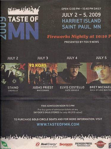 2009 Taste of MN Festival Program