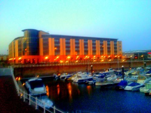 Radisson Blu Waterfront Jersey at dusk