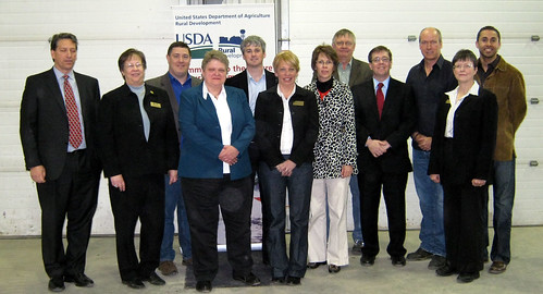 USDA Rural Development Deputy Under Secretary Cheryl Cook (fourth from left), Nebraska RD staff, Congressional staff, State Senator Annette Dubas, Lenders, and Borrowers Celebrate the Sustainability of a Rural Business, Preferred Sands of Genoa LLC.
