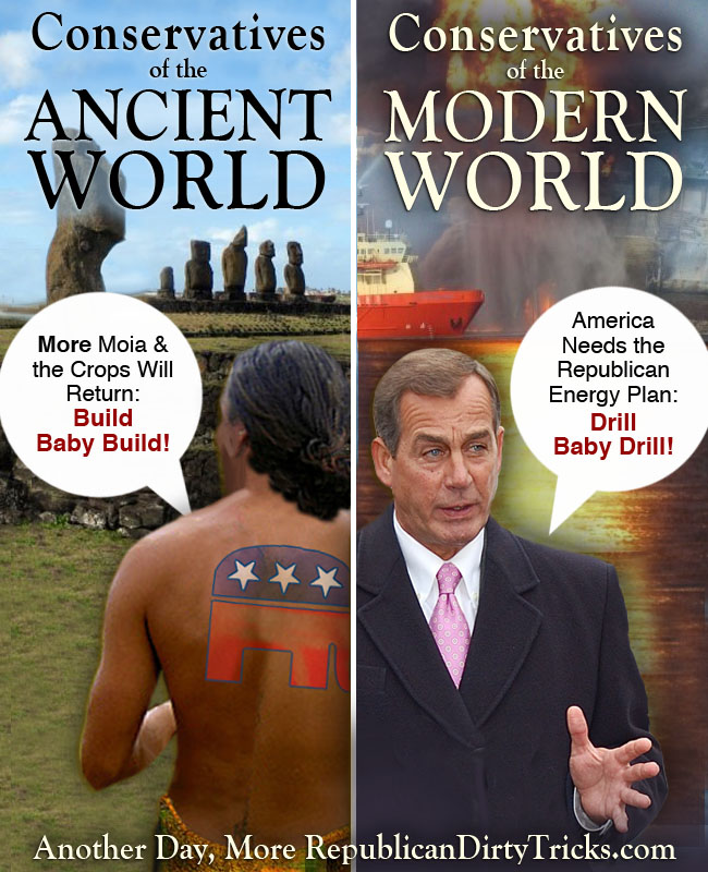 """Cons Cry """"Drill Baby Drill"""" Like Rapa Nui Priests Cried """"Build Baby Build"""""""