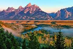 Snake River Fog at the Overlook (Jeff Clow) Tags: mountains landscape explore western wyoming tetons frontpage grandtetonnationalpark snakeriveroverlook 1exp jacksonholewyoming