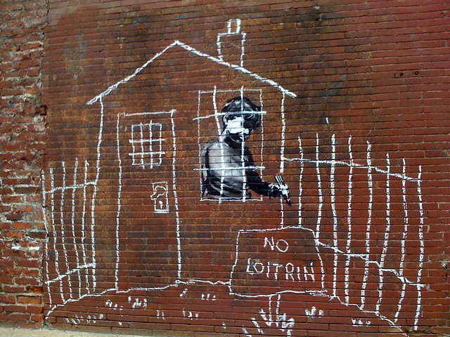 Banksy in Boston: Overview of the NO LOITRIN piece on Essex St in Central Square, Cambridge by Chris Devers