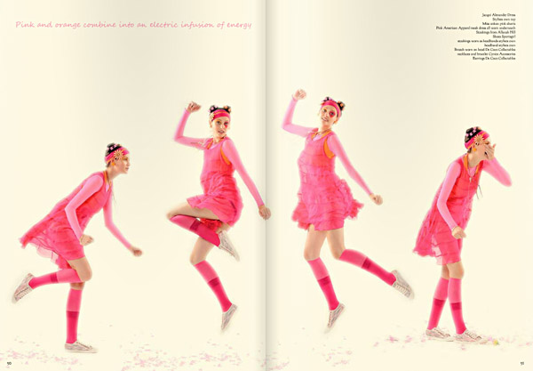 Pink dress, model jumping in pink dress and socks, picture sequence. Colour Blocking Fashion photographed by Kent Johnson.