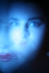 geisha mix (kristy clark) Tags: longexposure blue light portrait white blur spirit ghost makeup spooky photograph geisha redlips striking canon400duser