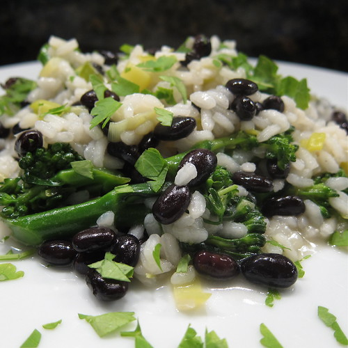 Risotto with Leeks, Broccoli & Black Beans