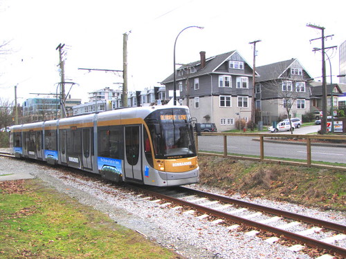 Vancouver's Bombardier Flexity streetcar being tested during the 2010 Olympics in connecting Granvile ISland and Olympic Village station of the skytrain Canada Line system