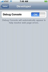 Turn on the debug console