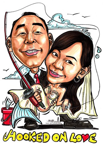 Wedding couple caricatures Hooked on Love A3