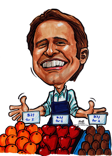Caricatures for NUS - shopkeeper selling fruits