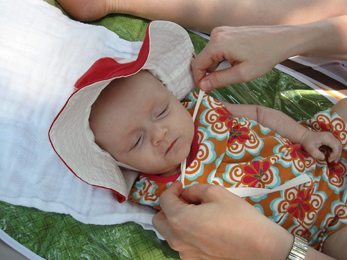 Baby in a sunhat!