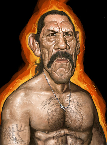 digital caricature of Danny Trejo medium