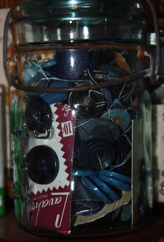 Blue Button Jar