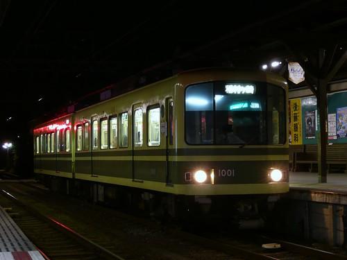 江ノ電1001F稲村ヶ崎行き最終電車@長谷