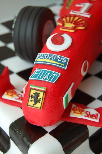 Ferrari F1 Race Car Birthday Cake - closeup