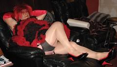 Bunnymaid (Bunnymaid2) Tags: stockings highheels knickers transvestite upskirt suspenders miniskirt crossdresser shortskirts heavymakeup frills petticoats stockingtops frillyknickers operagloves seamedstockings frillypetticoat upperthighs