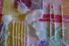 tissue art...detail (GEOLOGY urban fossil / busy writing a novel) Tags: gallery cd tissue wallart toothpicks glassbeads facialtissues tissueart