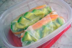 avocado summer rolls (bluealue) Tags: avocado sticks vietnamese rice carrots sprouts summerrolls thaibasil redleaflettuce