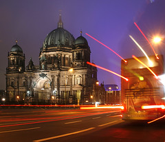Berliner Dom and Bus (david.bank (www.david-bank.com)) Tags: winter bus berlin night germany deutschland dom religion 100 6x7 protestant berliner bvg