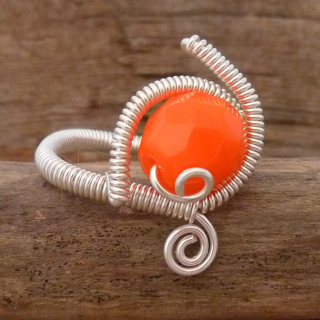 Orange Crystal Wrapped Ring Size 7.5