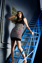 Carmen on Blue Stairs (Billy Wilson Photography) Tags: city blue woman ontario canada girl wall lady stairs digital photoshop canon pose eos rebel model paint downtown industrial modeling edited kitlens posed human xs portfolio soo carmen strobe saultstemarie northernontario algoma cs4 speedlite modelshoot strobist billywilsonphotography saultphotographer carmenrachel
