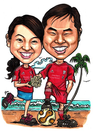 Liverpool couple caricatures @ beach A3