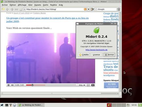 Une vidéo en flash en action sur Sidux avec Gnash